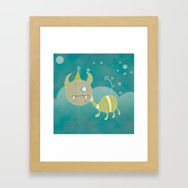 Party-Animal in the Night Bubbles Framed Art Print