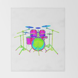 Colorful Drum Kit Throw Blanket