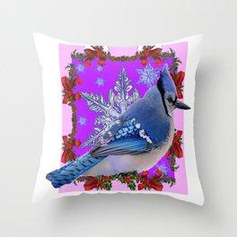 BLUE JAY WILDLIFE RED-FUCHSIA HOLIDAY SNOWFLAKE ART Throw Pillow