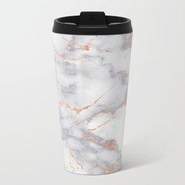 Gray Marble Rosegold  Glitter Pink Metallic Foil Style Metal Travel Mug