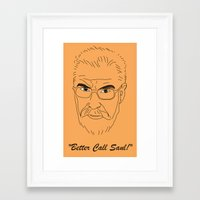 better call saul Framed Art Prints featuring Better Call Saul Berenson by FENNIKEL