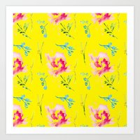 colorburst on yellow Art Print