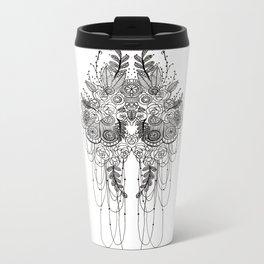 Black & White Lace Metal Travel Mug