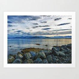 Dusk over South Bay, New Zealand Art Print