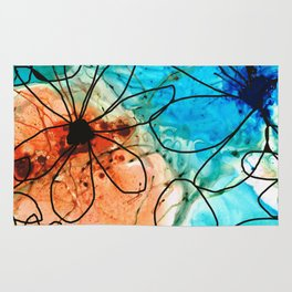 Modern Floral Art - Wild Flowers 2 - Sharon Cummings Rug