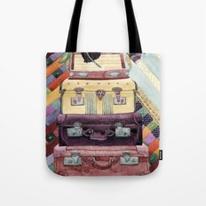 Suitcases Binoculars and Color Tote Bag