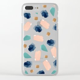 turquoise, navy, pink & gold Clear iPhone Case