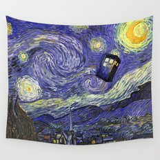 VAN GOGH STARRY NIGHT TARDIS Wall Tapestry