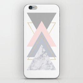Blush Marble Gray Gold Geometric Pattern iPhone Skin