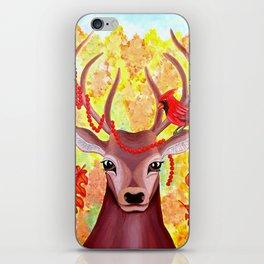 Deer and Cardinal at Fall iPhone Skin