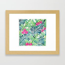 Lush Tropical Fronds & Hibiscus Framed Art Print