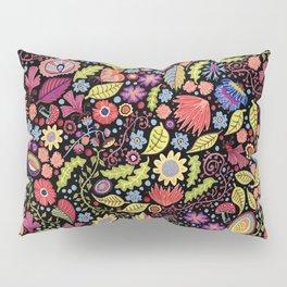 Happy Floral Black Pillow Sham
