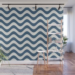 Blue & Off White Rippled Stripes, Wavy Line Pattern - 2020 Color of the Year Chinese Porcelain Wall Mural