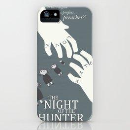 the night of the hunter, minimalist movie poster, Charles Laughton, Robert Mitchum, film wall art iPhone Case