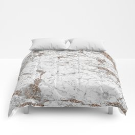 White frost - rose gold marble Comforters