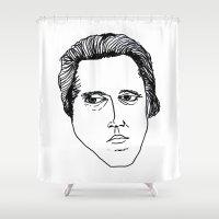 christopher walken Shower Curtains featuring Walken by a.DeFelice