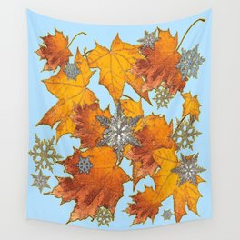 Decorative Blue Winters Snowflakes old Autumn Leaves Art Wall Tapestry