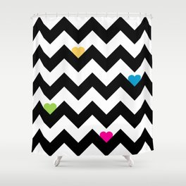 Heart & Chevron - Black/Multi Shower Curtain