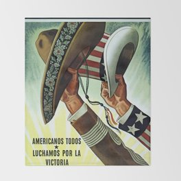 Americans All - Let's Fight for Victory Throw Blanket