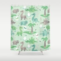 dinosaurs Shower Curtains featuring Baby dinosaurs by Heleen van Buul