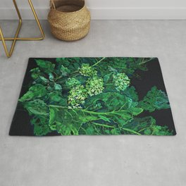 Hydrangea and Horseradish, Floral Art Pastel Painting Black Green Rug