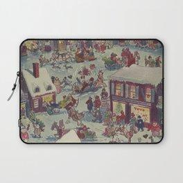 Vintage Christmas Town Folk Illustration (1918) Laptop Sleeve