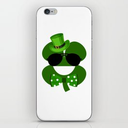 Clover Emoji With Green Top Hat Cool St Patricks Day iPhone Skin