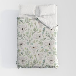 Koala and Eucalyptus Pattern Duvet Cover