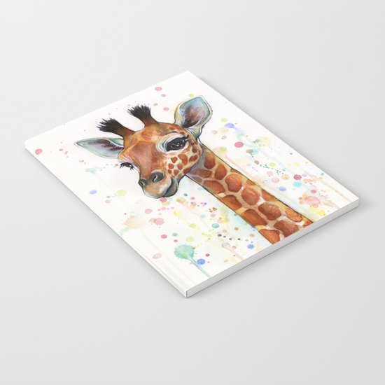Giraffe Baby Watercolor Notebook