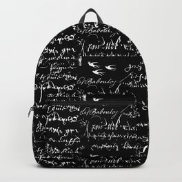 White French Script on Black background with White birds Backpack