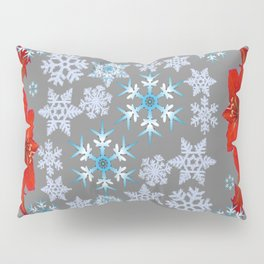 GOLD  GARLAND & SNOWFLAKES   RED AMARYLLIS FLOWERS CHRISTMAS ART Pillow Sham