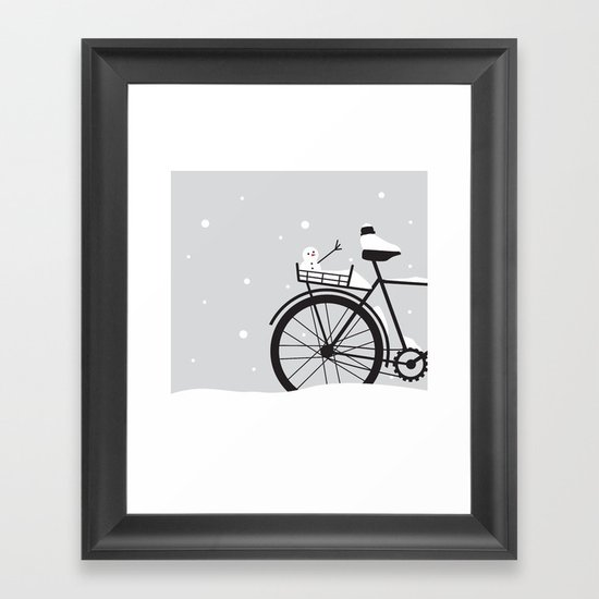 Bicycle & snow Framed Art Print