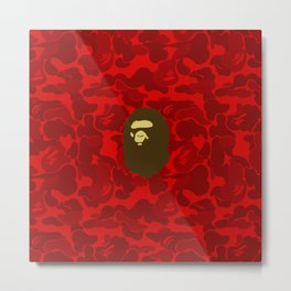 BAPE APE ON RED Metal Print