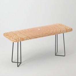 Spiral Mandala (Peach Orange) Curve Round Rainbow Pattern Unique Minimalistic Vintage Zentangle Bench