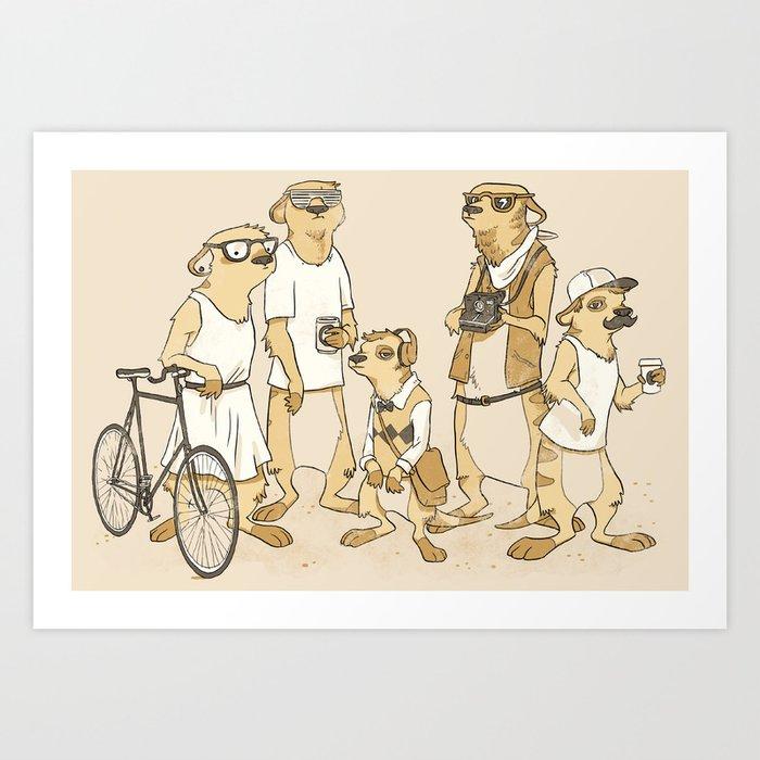 Hipster Meerkats Art Print