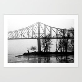 Foggy Morning Bridge Art Print