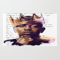 kendrick lamar Area & Throw Rugs featuring KingKendrick by DCGreenArt