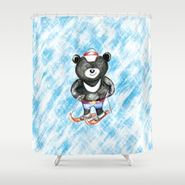 Bear on ski Shower Curtain