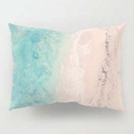 Aerial sea photography, exotic beach, fine art, wanderlust, coral reef, tropical landscape, summer Pillow Sham
