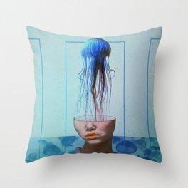 Jellyfish blue. Throw Pillow