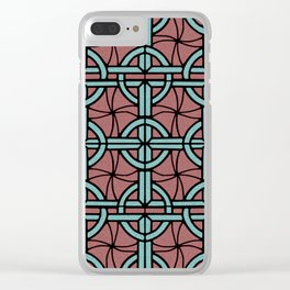 Stained Glass - Coral and Aqua Clear iPhone Case