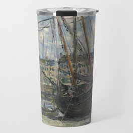 Boat Lying at Low Tide - Claude Monet Travel Mug