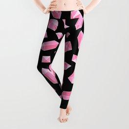 Pink Crystal on Black Pattern Leggings