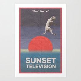 Sunset Television Poster Art Print