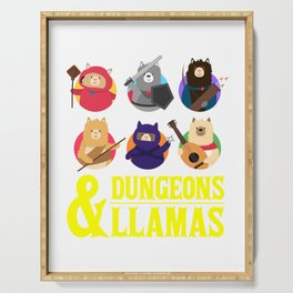 Dungeons And Llamas Geek D20 Tabletop Nerd Serving Tray