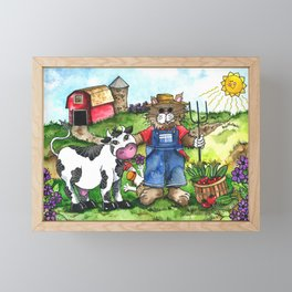 Farmer Fluffy at Harvest Time Framed Mini Art Print