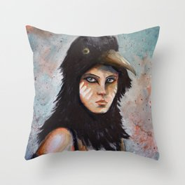Raven girl Throw Pillow
