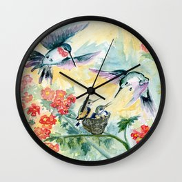 Hummingbirds Secret Garden Wall Clock