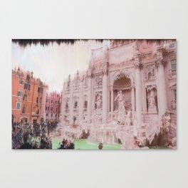 Trevi fountain on a vapor day Canvas Print