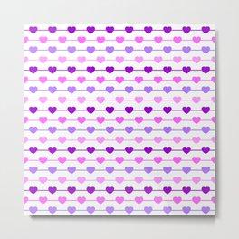 Hearts - Pink and Purple Metal Print